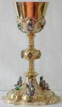 Solid silver gilt antique French Gothic Chalice with Standing Figures