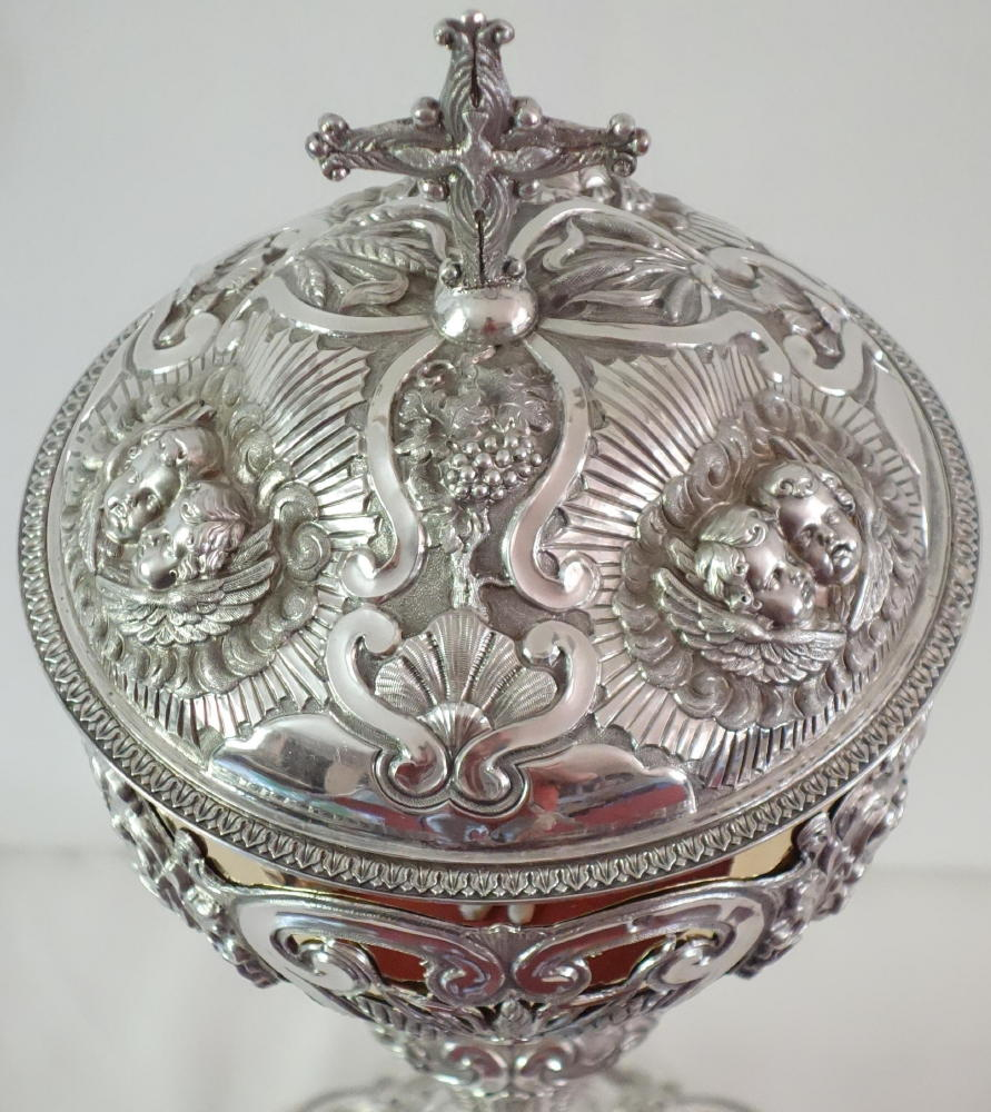 antique solid silver french baroque ciborium