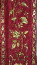 Red silk Antique Gothic cope with rich gold bullion embroidery