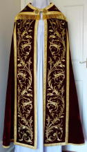 Red velvet antique cope and Preaching Stole with gold bullion embroidery