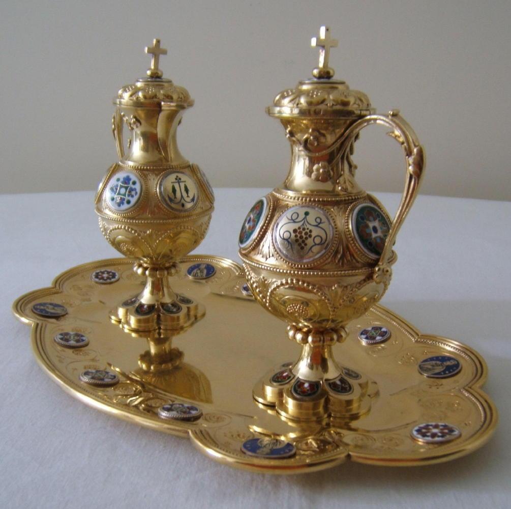 luzar vestments  cruets  antique and secondhand baroque  -  antique solid silver gilt cruets