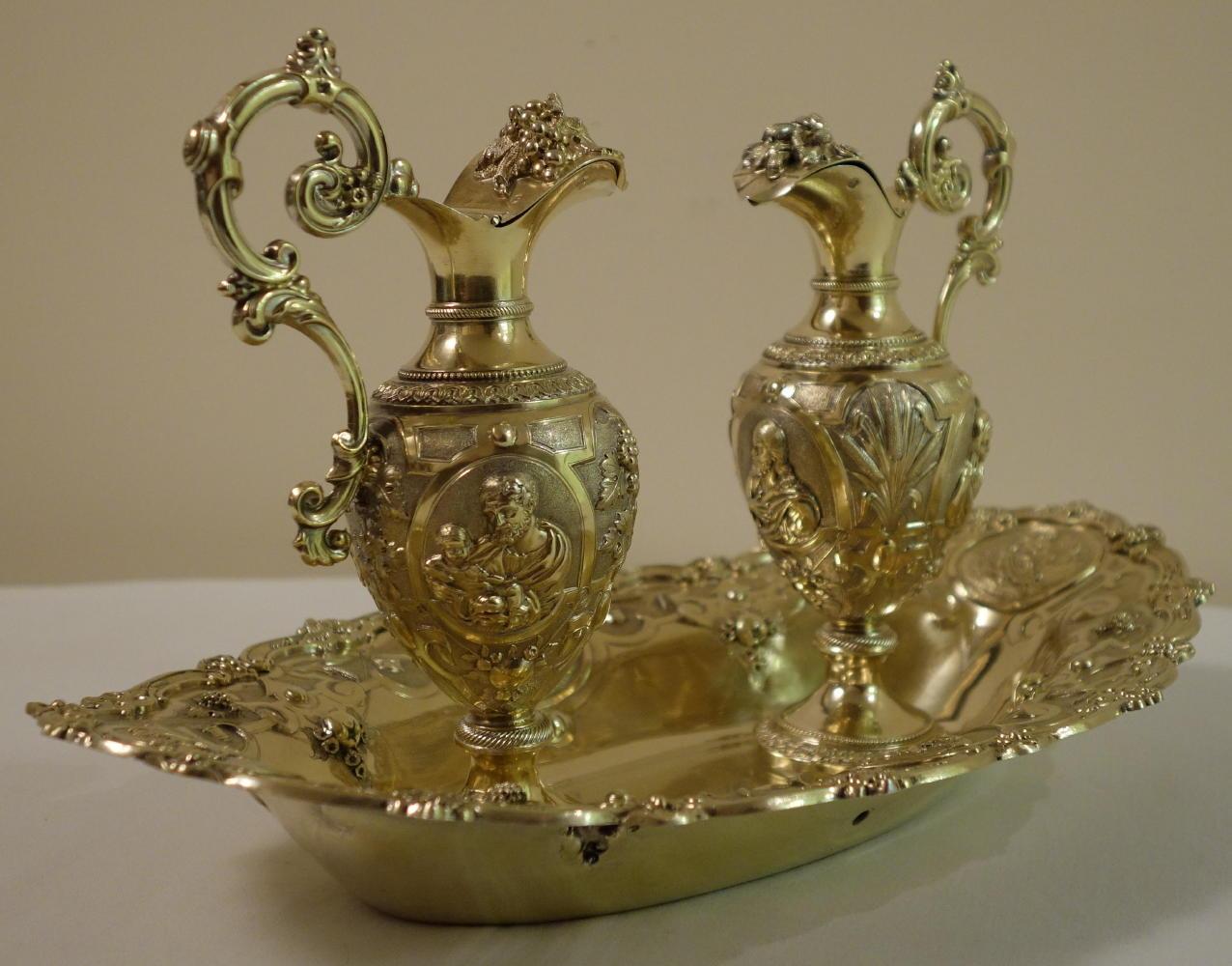 luzar vestments  cruets  antique and secondhand baroque  -  antique solid silver gilt french baroque cruets