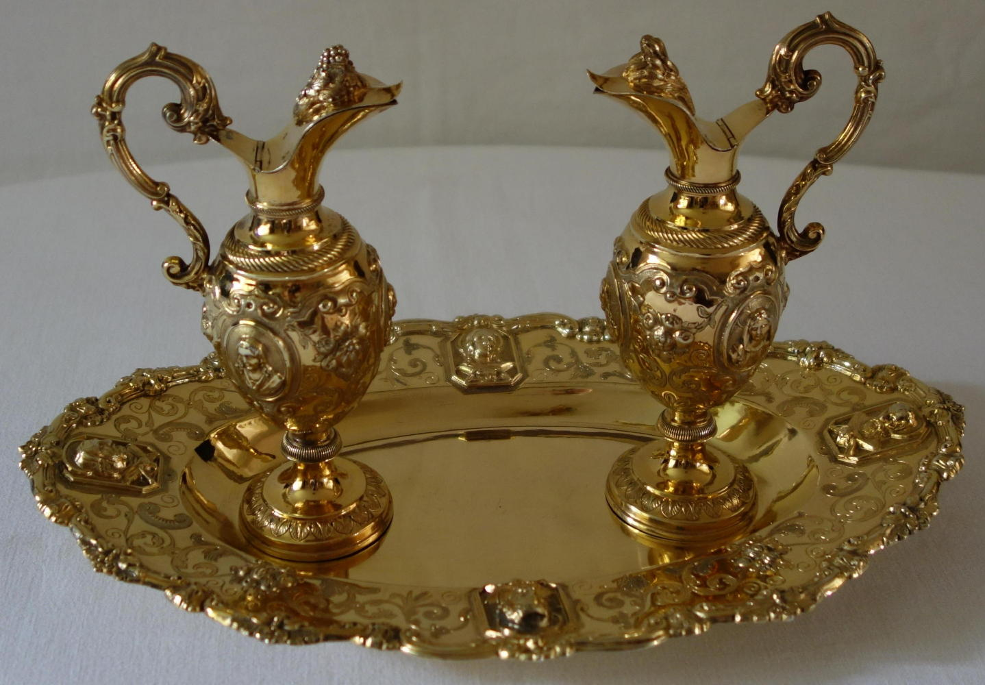 luzar vestments  church cruets crystal solid silver glass - solid silver gilt antique french baroque cruets