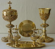 Antique French Solid silver gilt Chapel Set by  Poussielgue-Rusand.
