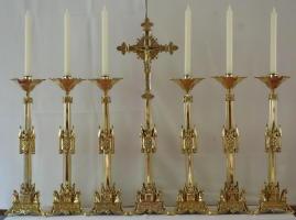 High Altar Set of Crucifix with six Candlesticks