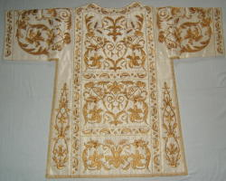 White embroidered High Mass Set of Vestments