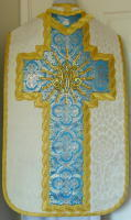 Roman Vestments Quality damask; cross shaped orphreys
