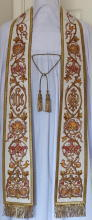 White Embroidered Preaching Stole