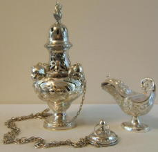 Ornate antique solid silver Baroque Thurible & Boat