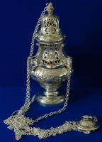 Ornate antique French solid silver Baroque Thurible