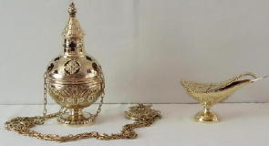 Brass Thurible and Incense Boat 6436