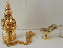 Brass Thurible and Incense Boat 6596